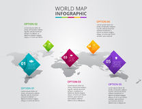 Vector world map with infographic elements. Five steps modern design template royalty free illustration