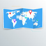 Vector world map with infographic elements. Stock Images