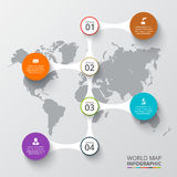 Vector world map with infographic elements. Template for diagram, graph, presentation. Business concept with number options, parts, steps or processes stock illustration