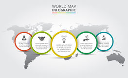 Vector world map with infographic elements. Template for diagram, graph, presentation. Business concept with 5 options, parts, steps or processes. Abstract vector illustration