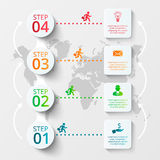 Vector world map with infographic elements. Template for diagram, graph, presentation. Business concept with 4 options, parts, steps or processes. Abstract vector illustration