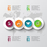 Vector world map with infographic elements. Royalty Free Stock Photos