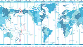 Vector world map of local time zones centered by America Stock Photos