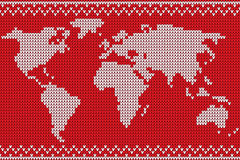 Vector world map lovely knitting style Royalty Free Stock Photography