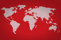 Vector world map lovely knitting style Royalty Free Stock Photo
