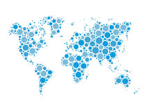 Vector world map mosaic of blue dots in various sizes and shades on white background. Royalty Free Stock Photo