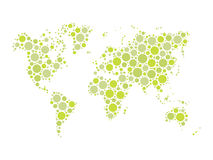 Vector world map mosaic of blue dots in various sizes and shades on white background. Royalty Free Stock Images