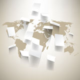 Vector world map and paper notes background Stock Photos