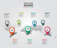 Vector world map with pointer marks. royalty free illustration