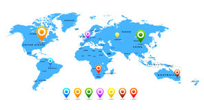 Vector World map with pointers  on white Royalty Free Stock Image