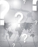 Vector world map and question mark on crack background Royalty Free Stock Photo