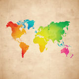 Vector world map. Vector water-colour world map on aged paper texture Royalty Free Stock Photos