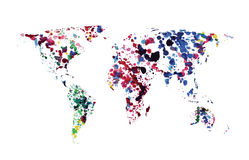 Vector world map of watercolor blots stock illustration