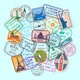 Vector world post stamp marks stock illustration