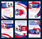Vector world soccer championship posters. With information. Soccer team club, fun club and soccer tournament or game match design of champion winner stars and Stock Images