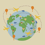 Vector world travel map with airplanes. World globe travel map with airplanes, boat, balloon royalty free illustration