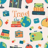 Vector World Travel Seamless Pattern Background stock illustration