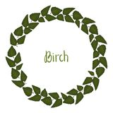 Vector wreath of birch leaves. royalty free illustration