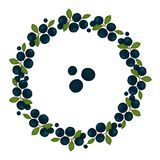 Vector wreath of blueberries with green leaves royalty free illustration