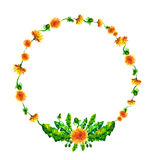 Vector Wreath, circle frame with the watercolor flowers Stock Photography