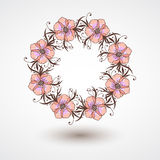 Vector wreath of flowers, branches and leaves. Royalty Free Stock Photography