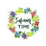Vector wreath flowers Summer time Stock Photo