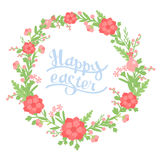 Vector wreath of flowers on a white background with inscription Royalty Free Stock Image