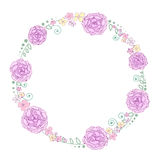 Vector wreath frame flowers Stock Images