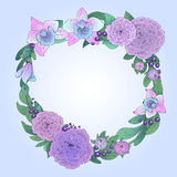 Vector wreath frame framing of purple peonies Royalty Free Stock Image