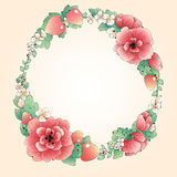 Vector wreath frame of red flowers and berries with blank space for text in the center Royalty Free Stock Image