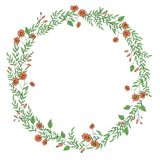 Vector wreath of garden flowers and herbs. stock illustration