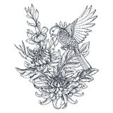Vector wreath with hand drawn chrysanthemum flowers and a bird Royalty Free Stock Photo