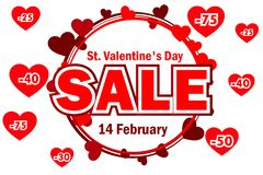 Vector wreath from hearts with the word SALE. St. Valentine day sale offer, banner template. On Separate Layers. Wreath from hearts with the word SALE. St royalty free illustration