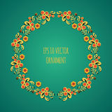 Vector wreath illustration of traditional folk russian floral old ornament named khokhloma on green background Royalty Free Stock Images