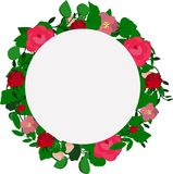 Vector wreath of leaves and pink flowers stock illustration
