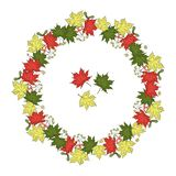 Vector wreath of maple leaves vector illustration