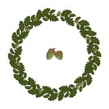 Vector wreath of oak leaves stock illustration