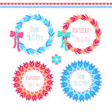 Vector wreath set in blue and pink colores. Vector wreath set with ornamental elements  in blue and pink colores Stock Photo