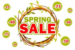 Vector wreath of twigs with the word SALE. Spring seasons sale offer, banner template. On Separate Layers. Wreath of twigs with the word SALE. Spring seasons vector illustration