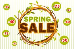 Vector Wreath of twigs with the word SALE. Spring seasons sale offer, banner template. On Separate Layers. Wreath of twigs with the word SALE. Spring seasons stock illustration