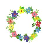 Vector wreath of watercolor simlpe flat flowers Royalty Free Stock Photos