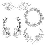 Vector wreaths and laurel wreaths. Round flower vector frames. H Stock Image