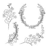 Vector wreaths and laurel wreaths. Round flower vector frames. H Stock Photo