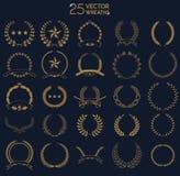 25 vector Wreaths. Set of award laurel wreaths and branches. Design element for logo, label, emblem, sign. Vector illustration Stock Photo