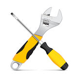 Vector wrench and screwdriver Royalty Free Stock Photos