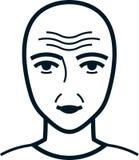 Vector wrinkled face illustration  on white Stock Image