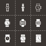 Vector wristwatch icon set. On black background Royalty Free Stock Images