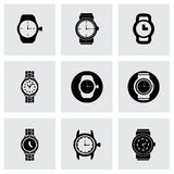 Vector wristwatch icon set. On grey background Stock Image