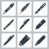 Vector writing and painting tools icons set Royalty Free Stock Photo