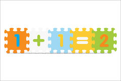 Vector 1+1=2 written with alphabet puzzle Royalty Free Stock Image